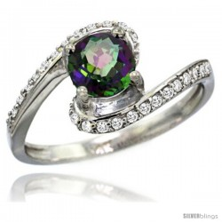 14k White Gold Natural Mystic Topaz Swirl Design Ring 6 mm Round Shape Diamond Accent, 1/2 in wide