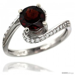 14k White Gold Natural Garnet Swirl Design Ring 6 mm Round Shape Diamond Accent, 1/2 in wide