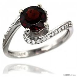 14k White Gold Natural Garnet Swirl Design Ring 6 mm Round Shape Diamond Accent, 1/2 in wide