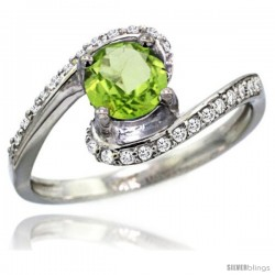14k White Gold Natural Peridot Swirl Design Ring 6 mm Round Shape Diamond Accent, 1/2 in wide