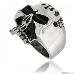 Surgical Steel Biker Skull Ring w/ Flames on Forehead