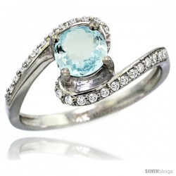 14k White Gold Natural Aquamarine Swirl Design Ring 6 mm Round Shape Diamond Accent, 1/2 in wide