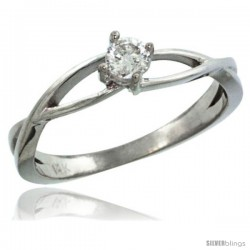 14k White Gold Loop Diamond Engagement Ring w/ 0.19 Carat Brilliant Cut ( H-I Color SI1 Clarity ) Diamond, 3/16 in. (4.5mm)