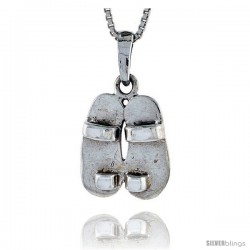 Sterling Silver Slippers Pendant, 5/8 in tall -Style Pa507