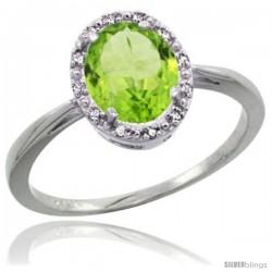 10k White Gold Peridot Diamond Halo Ring 1.17 Carat 8X6 mm Oval Shape, 1/2 in wide