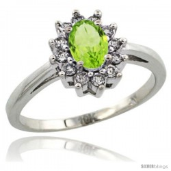 10k White Gold Peridot Diamond Halo Ring Oval Shape 1.2 Carat 6X4 mm, 1/2 in wide