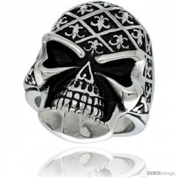 Surgical Steel Biker Skull Ring Decorated w/ Fleur De Lis