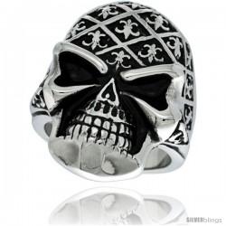 Surgical Steel Biker Skull Ring Decorated w/ Fleur De Lis