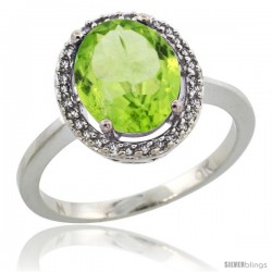 10k White Gold Diamond Halo Peridot Ring 2.4 carat Oval shape 10X8 mm, 1/2 in (12.5mm) wide