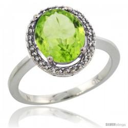 10k White Gold Diamond Halo Peridot Ring 2.4 carat Oval shape 10X8 mm, 1/2 in (12.5mm) wide