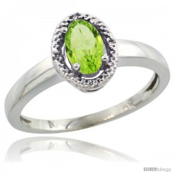 10k White Gold Diamond Halo Peridot Ring 0.75 Carat Oval Shape 6X4 mm, 3/8 in (9mm) wide