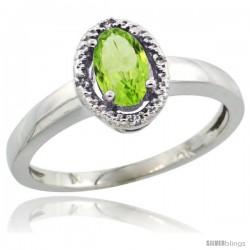 10k White Gold Diamond Halo Peridot Ring 0.75 Carat Oval Shape 6X4 mm, 3/8 in (9mm) wide