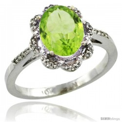 10k White Gold Diamond Halo Peridot Ring 1.65 Carat Oval Shape 9X7 mm, 7/16 in (11mm) wide