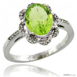 10k White Gold Diamond Halo Peridot Ring 1.65 Carat Oval Shape 9X7 mm, 7/16 in (11mm) wide
