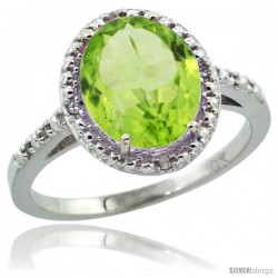 10k White Gold Diamond Peridot Ring 2.4 ct Oval Stone 10x8 mm, 1/2 in wide -Style Cw911111