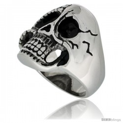 Surgical Steel Biker Skull Ring Half Cracked Half Burnt