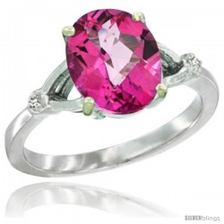 10k White Gold Diamond Pink Topaz Ring 2.4 ct Oval Stone 10x8 mm, 3/8 in wide