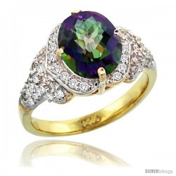 14k Gold Natural Mystic Topaz Ring 10x8 mm Oval Shape Diamond Halo, 1/2 in wide