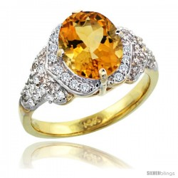 14k Gold Natural Citrine Ring 10x8 mm Oval Shape Diamond Halo, 1/2 in wide