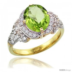 14k Gold Natural Peridot Ring 10x8 mm Oval Shape Diamond Halo, 1/2 in wide