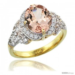 14k Gold Natural Morganite Ring 10x8 mm Oval Shape Diamond Halo, 1/2 in wide