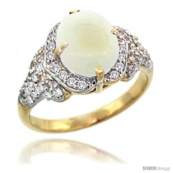 14k Gold Natural Opal Ring 10x8 mm Oval Shape Diamond Halo, 1/2 in wide