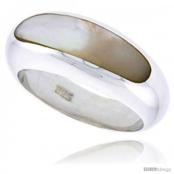 "Sterling Silver Concaved Ladies' Ring w/ Mother of Pearl, 5/16"" (9 mm) wide"