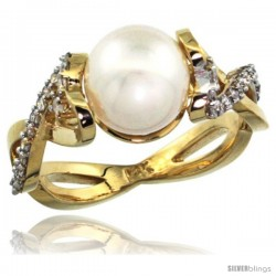 14k Gold Heart-shaped Loop Pearl Ring w/ 0.32 Carat Brilliant Cut ( H-I Color VS2-SI1 Clarity ) Diamonds & 9mm White Pearl