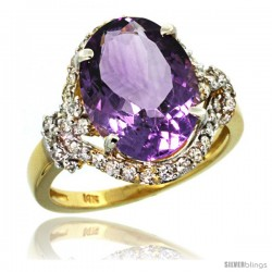 14k Gold Natural Amethyst Ring Oval 14x10 Diamond Halo, 3/4 in wide