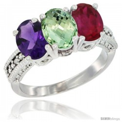 14K White Gold Natural Amethyst, Green Amethyst & Ruby Ring 3-Stone 7x5 mm Oval Diamond Accent