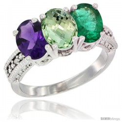 14K White Gold Natural Amethyst, Green Amethyst & Emerald Ring 3-Stone 7x5 mm Oval Diamond Accent