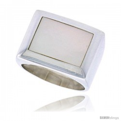 "Sterling Silver Ladies' Ring w/ a Rectangular Mother of Pearl, 5/8"" (16 mm) wide"
