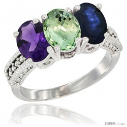 14K White Gold Natural Amethyst, Green Amethyst & Blue Sapphire Ring 3-Stone 7x5 mm Oval Diamond Accent