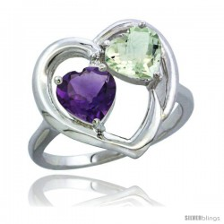 14k White Gold 2-Stone Heart Ring 6mm Natural Amethyst & Green Amethyst Diamond Accent