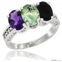 14K White Gold Natural Amethyst, Green Amethyst & Black Onyx Ring 3-Stone 7x5 mm Oval Diamond Accent