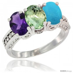 14K White Gold Natural Amethyst, Green Amethyst & Turquoise Ring 3-Stone 7x5 mm Oval Diamond Accent