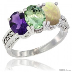 14K White Gold Natural Amethyst, Green Amethyst & Opal Ring 3-Stone 7x5 mm Oval Diamond Accent