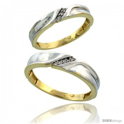 Gold Plated Sterling Silver Diamond 2 Piece Wedding Ring Set His 5mm & Hers 3.5mm