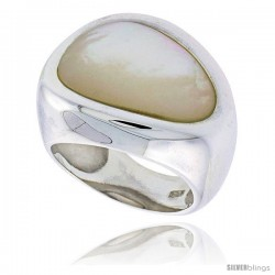 "Sterling Silver Ladies' Ring w/ a Pear-shaped Mother of Pearl, 3/4"" (19 mm) wide"