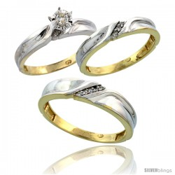 Gold Plated Sterling Silver Diamond Trio Wedding Ring Set His 5mm & Hers 3.5mm