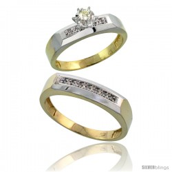 Gold Plated Sterling Silver 2-Piece Diamond Wedding Engagement Ring Set for Him & Her, 4.5mm & 5mm wide -Style Agy109em
