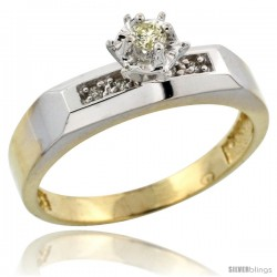 Gold Plated Sterling Silver Diamond Engagement Ring, 3/16 in wide -Style Agy109er