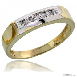 Gold Plated Sterling Silver Ladies Diamond Wedding Band, 3/16 in wide -Style Agy109lb