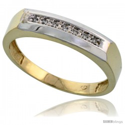 Gold Plated Sterling Silver Mens Diamond Wedding Band, 3/16 in wide -Style Agy109mb