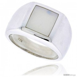 "Sterling Silver Ladies' Ring w/ a Square-shaped Mother of Pearl, 1/2"" (12 mm) wide"