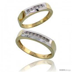 Gold Plated Sterling Silver Diamond 2 Piece Wedding Ring Set His 5mm & Hers 4.5mm -Style Agy109w2