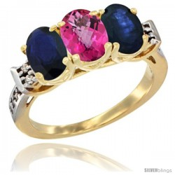 10K Yellow Gold Natural Pink Topaz & Blue Sapphire Sides Ring 3-Stone Oval 7x5 mm Diamond Accent