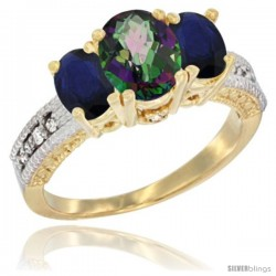 10K Yellow Gold Ladies Oval Natural Mystic Topaz 3-Stone Ring with Blue Sapphire Sides Diamond Accent