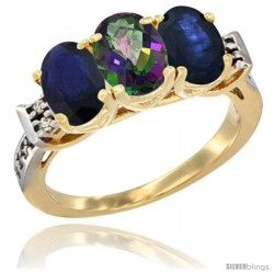 10K Yellow Gold Natural Mystic Topaz & Blue Sapphire Sides Ring 3-Stone Oval 7x5 mm Diamond Accent