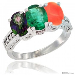 14K White Gold Natural Mystic Topaz, Emerald & Coral Ring 3-Stone 7x5 mm Oval Diamond Accent